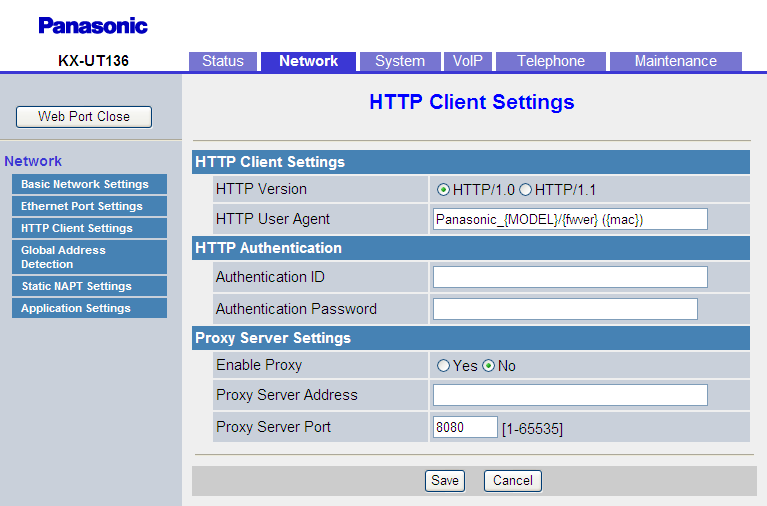4.3.4 HTTP Client Settings 4.3.4 HTTP Client Settings This screen allows you to change the HTTP client settings for the unit in order to access the HTTP server of your phone system and download configuration files.