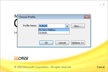 19 Open Outlook 2010 and select your new profile, when prompted. 20 21 Enter your full email address in the username text box, then your password, when prompted.