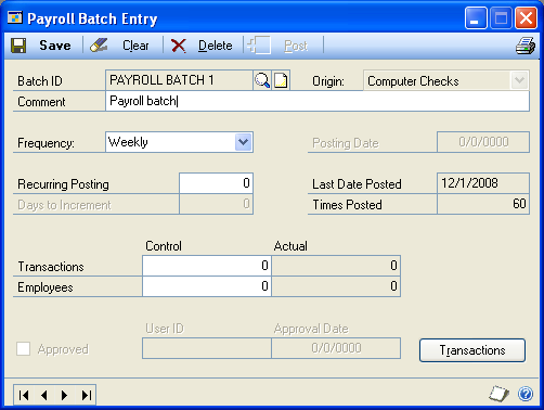 CHAPTER 10 BATCHES AND POSTING Modifying or deleting a batch Use the Payroll Batch Entry window to change or delete an unposted batch.