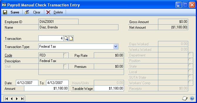 PART 3 TRANSACTIONS You can only select a checkbook ID and check number if you marked Manual Check as your check type. 5. Enter or select the ID of the employee the check was written for. 6.