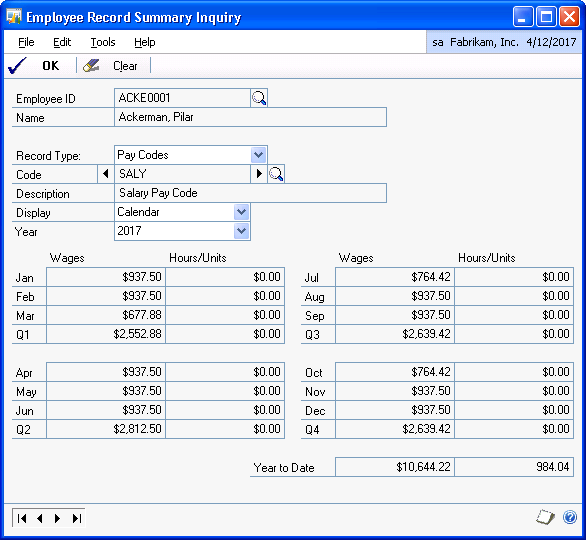 CHAPTER 13 EMPLOYEE INQUIRIES Viewing paycheck summary information by codes Use the Employee Record Summary Inquiry window to view summary information for individual pay, deduction, benefit, and