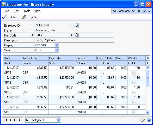 CHAPTER 13 EMPLOYEE INQUIRIES Viewing historical paycheck information by codes Use the Employee Pay History Inquiry window to view employee pay history information in a selected year.
