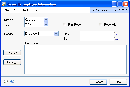 PART 5 UTILITIES To reconcile employee records: 1. Open the Reconcile Employee Information window. (Microsoft Dynamics GP menu >> Tools >> Utilities >> Payroll >> Reconcile) 2.