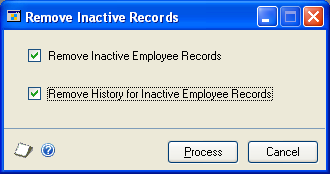 CHAPTER 17 REMOVING RECORDS 5. Mark any of these options. Print Summary Report Mark to print a summary report. Remove Summary Information Mark to remove employee summary information.