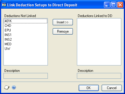 CHAPTER 25 DEDUCTION DIRECT DEPOSIT SETUP When you use a deduction direct deposit, an advice slip or earnings statement for the deduction deposit amount will not be printed for the employee.