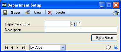 PART 1 SETUP Setting up department codes Use the Department Setup window to enter and maintain department codes and descriptions.