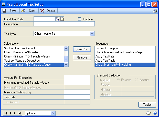 PART 1 SETUP Setting up a local tax Use the Payroll Local Tax Setup window to maintain tax tables for local taxes. Employees local taxes can be calculated automatically for each pay run.