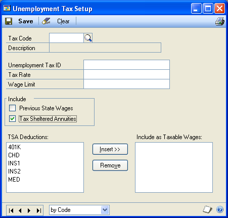 CHAPTER 4 SETTING UP TAXES AND COMPENSATION CODES To set up an unemployment tax: 1. Open the Unemployment Tax Setup window.