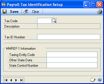 PART 1 SETUP Setting up federal and state tax identification numbers Use the Payroll Tax Identification Setup window to set up assigned federal and state tax identification numbers so they are