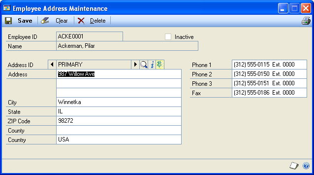 CHAPTER 6 EMPLOYEE CARDS Entering an employee address card Use the Employee Address Maintenance window to enter an employee address card. You can enter address and phone information.