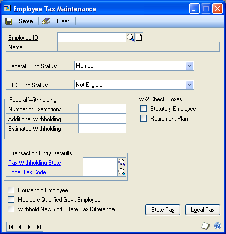 PART 2 CARDS Entering an employee tax card Use the Employee Tax Maintenance window to enter and maintain employee tax cards for federal taxes. To enter an employee tax card: 1.