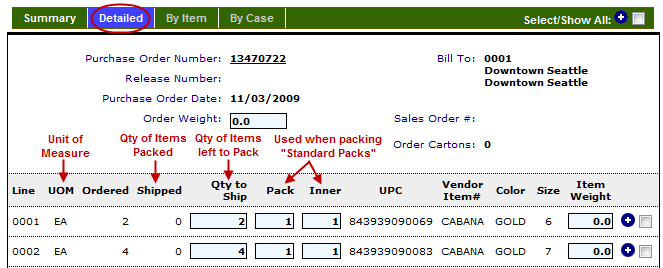 Next on the ASN summary view, you ll see your Purchase Order Date, your vendor number, and the number of cartons packed. Since the ASN hasn t been packed yet, this field is indicating zero.