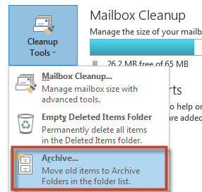 Archiving An efficient way to reduce the size of your Mailbox is to set up an archive file for older items. A compressed file of your Mailbox will be saved to your H: drive as an archive.pst file.