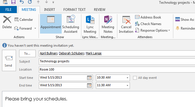 The Scheduling Assistant 1. Click Scheduling Assistant from the Meeting tab. 2. Type the names of the recipients and determine if they are available for the date and time of the meeting.