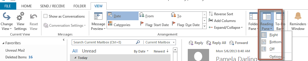 INBOX Reading Pane Messages appear in the Reading Pane which is located (default) in Office 2013 to the right side of the screen.