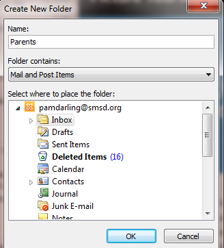 Organizing and Deleting Mail Using Microsoft Outlook 2013 Creating Personal Folders Personal folders (subfolders) can be created in the Mailbox folder.