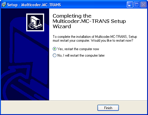 The installer begins to install the MC-TRANS application, see Figure 9.