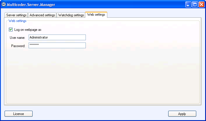 2.2.4 Web settings Tab You have the possibility to remote control the MC-TRANS via web interface.