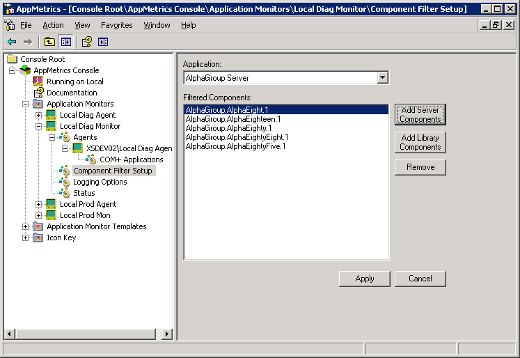 Xtremesoft AppMetrics User s Guide Figure 3-51 Add Server Components Dialog 4. Select the desired component(s) from the list box. 5. Click the Add button. 6.