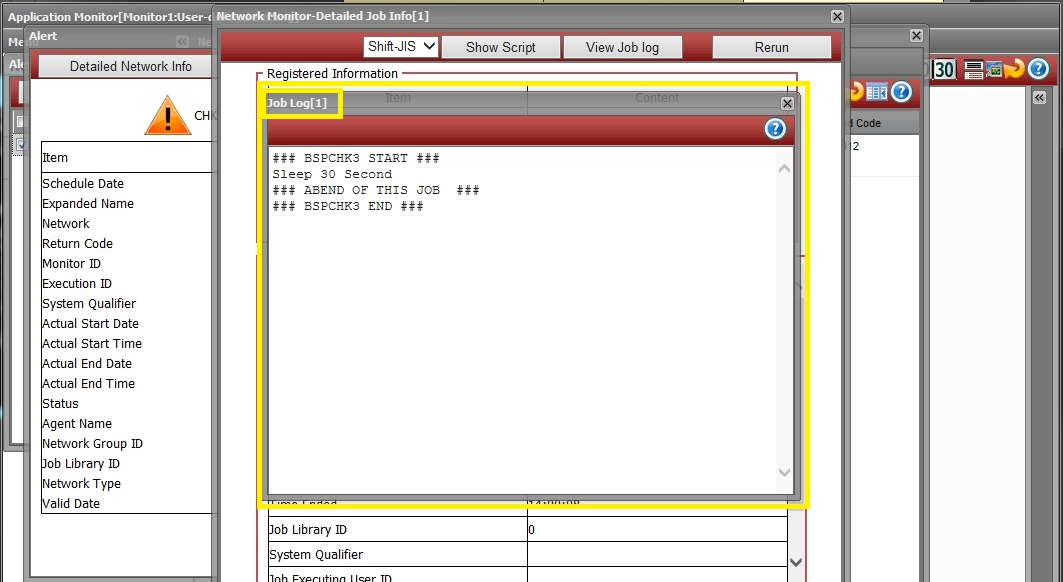 5.6.4 Check the details of the job that terminated abnormally [Network Monitor-Detailed Job Info] dialog is displayed.