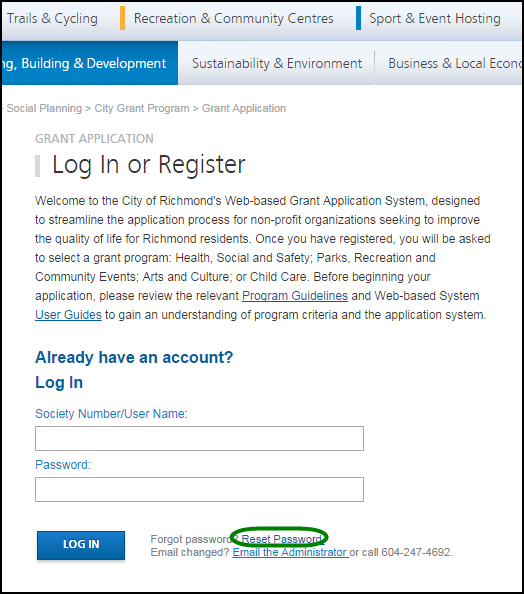 d. Reset Password If you forgot your password, or if your account gets locked out 1, you may generate a new temporary password. Go to the Log In page and click on the Reset Password link.