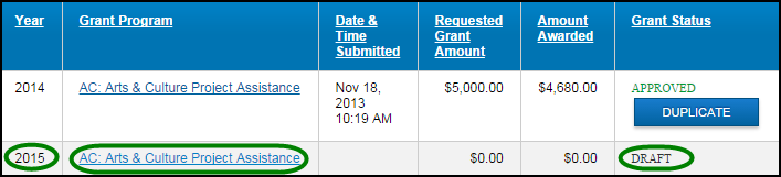 d. Duplicate a Grant Application To create a new Grant Application from a previous application, you will find the Duplicate button in the Grant Status column for Grants that have been Approved,