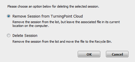 TurningPoint Cloud 123 1 Open TurningPoint Cloud and sign in to your Turning Account. 2 From the Manage tab, select a session from the left panel. 3 Click the Session drop-down menu and select Delete.