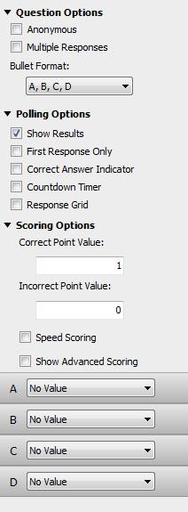 TurningPoint Cloud 26 5 Adjust the Question, Polling and Scoring options as necessary.
