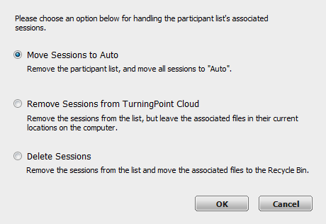 TurningPoint Cloud 55 3 Click the Participant List drop-down menu and select Delete. 4 If a participant list does not contain associated session data, click Delete.
