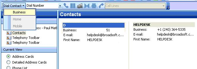Figure 41 Dialing from Contact List 2.2.5 Dial from vcard To dial from a vcard in Outlook 2000/2002/2003: 1) Click Contacts in the folder list.
