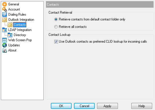 3.4.1 Contacts The Contacts page allows you to configure the way Toolbar integrates with your Outlook contact list.