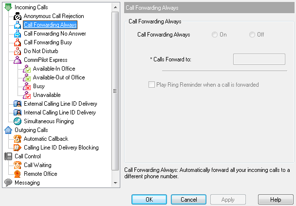 4.1.2 Call Forwarding Always The Call Forwarding Always service forwards all incoming calls to a specified phone number.