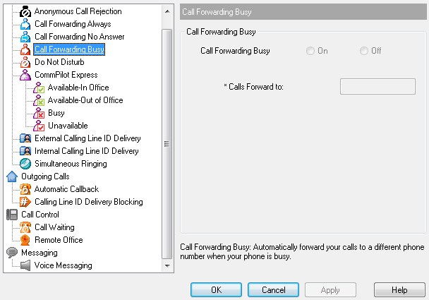 4.1.4 Call Forwarding Busy The Call Forwarding Busy service forwards all incoming calls to a specified phone number when all available lines are in use.