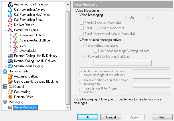 4.4 Messaging The Messaging pages in the Options dialog allow you to configure your Voice Messaging settings. 4.4.1 Voice Messaging The Voice Management page specifies how the system handles your voice messages.