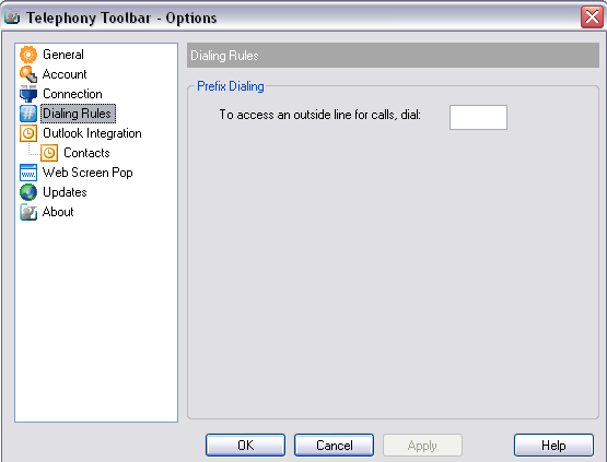 3.4 Dialing Rules The Dialing Rules page allows you to configure special dialing rules for Toolbar.