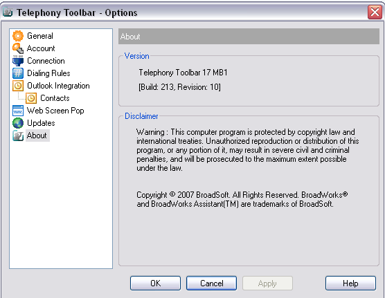 3.8 About The About page displays the version, copyright notices, and product disclaimers associated with Toolbar.