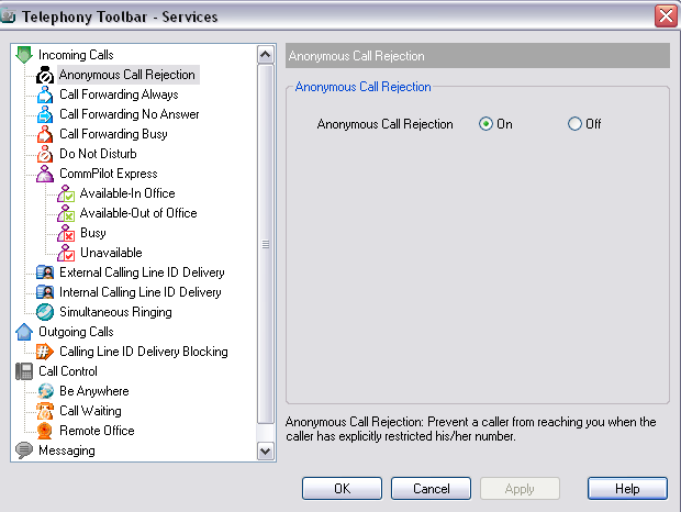 4 Services Dialog The Services dialog allows you to configure the calling features provided by Toolbar, such as Voice Messaging, CommPilot Express profiles, Call Forwarding, and Call Waiting.