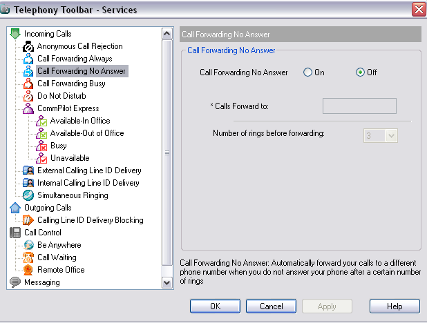 Figure 75 Services Dialog Call Forwarding No Answer Page To activate this service, click Call Forwarding No Answer on the toolbar. This is highlighted when turned on.