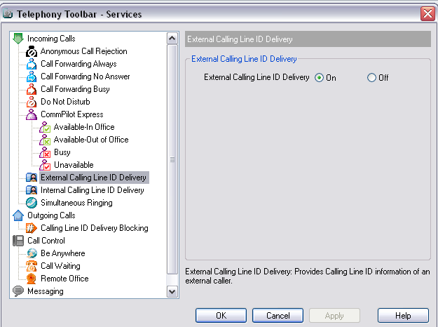 Figure 78 Services Dialog External Calling Line ID