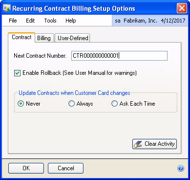 CHAPTER 2: SETUP To set up Recurring Contract Billing Contract Tab: 1. Open the Recurring Contract Billing Setup Options window.