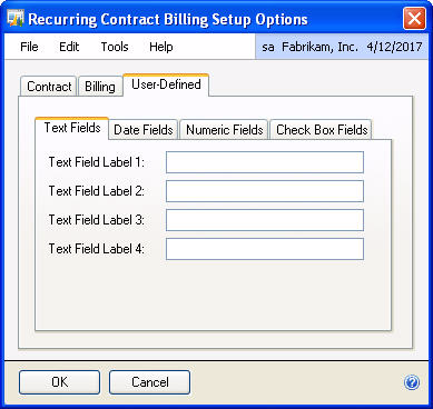 CHAPTER 2: SETUP To set up Recurring Contract Billing User Defined Tab: 1. Open the Recurring Contract Billing Setup Options window.