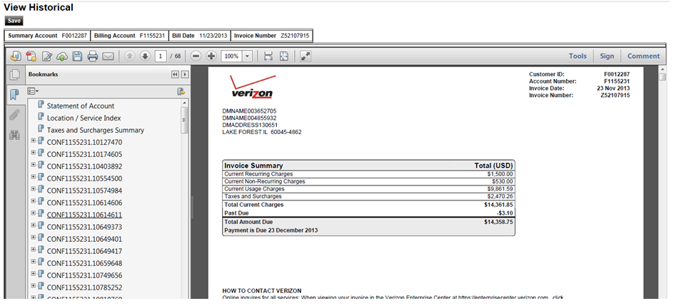 Invoice Images and Detail Files: PDF Image of Paper Invoice Clicking View for a specific invoice on the Select Historical screen opens a PDF view of a paper invoice in the right-hand pane.
