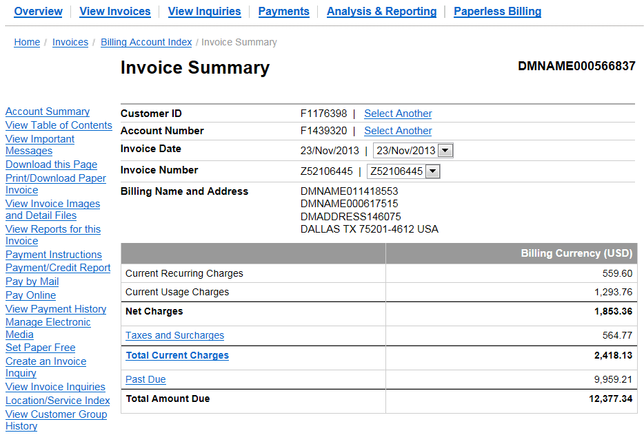 Paying Your Invoice: Pay by Mail Option Click Pay by Mail in the left-hand navigation links of the Invoice Summary screen of your interactive online invoice to open secondary screens where you