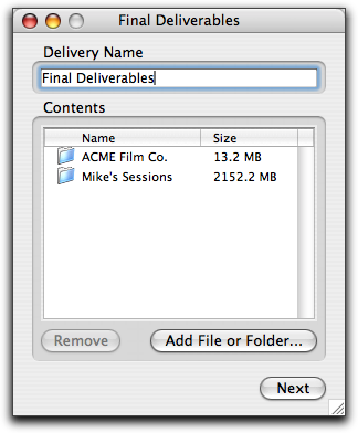2 Do one of the following to create a new delivery: Click New Delivery. or Drag files or folders onto the DigiDelivery main window.