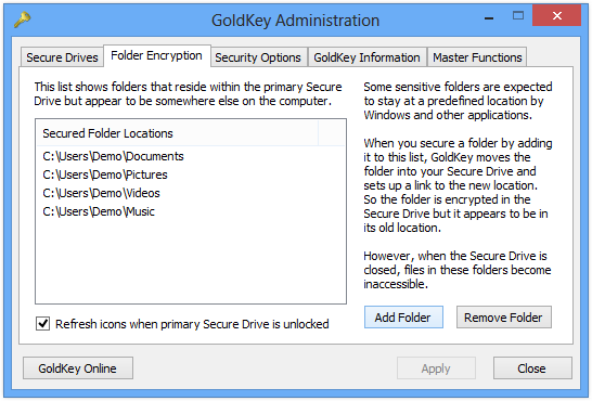 Secure Drive Discovery If you would like to search for Secure Drive files within a given directory, or even through an entire hard drive, you may use the Find Drives button in the GoldKey toolbar.