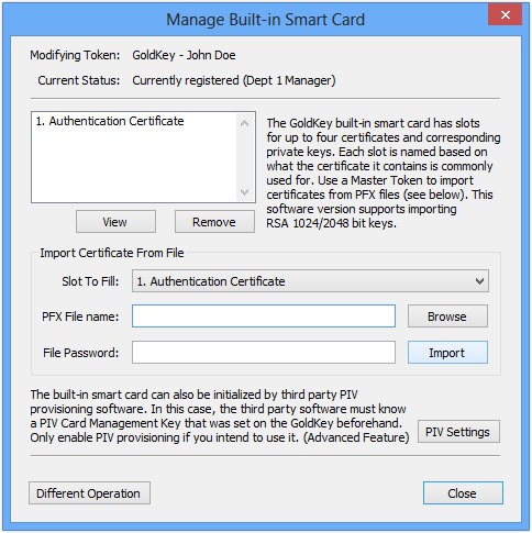 To Load certificates onto a GoldKey, click on the Master Functions tab Master Management button Manage Smart Cards button.