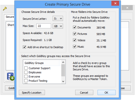 One feature of the Primary Secure Drive is that it supports Secure Folders.
