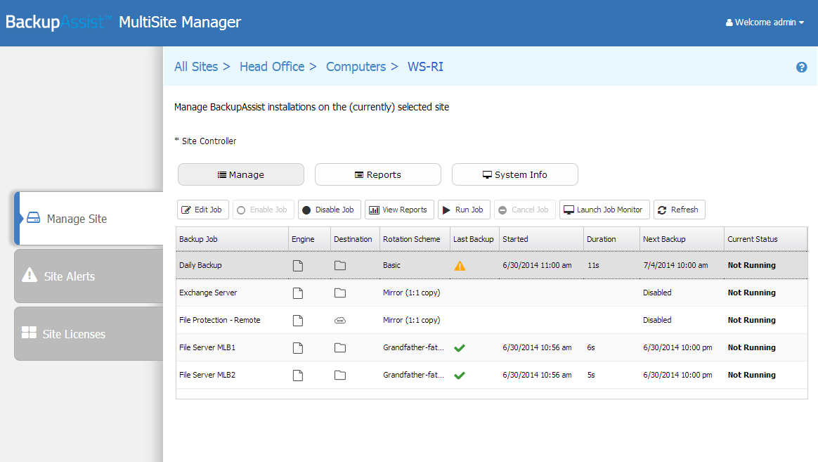 Manage Site Single computer When you open a computer from the Manage Site tab, you can view the backup jobs, reports and system information for that computer using three screens: Manage, Reports and