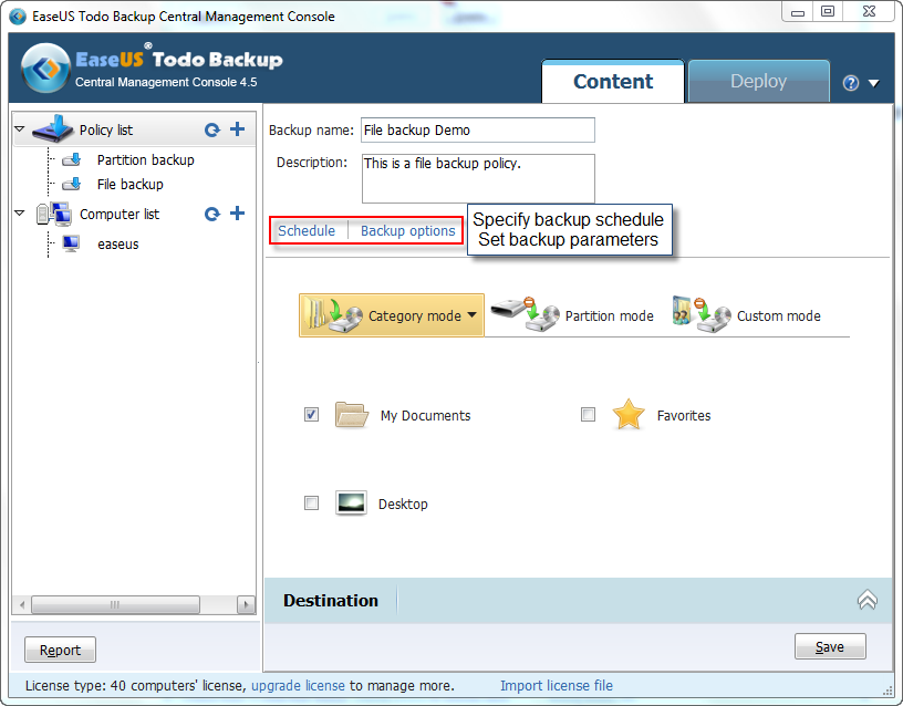Create backup policy Click the + mark or Create to set a new policy. 1. Specify the policy name and Description.