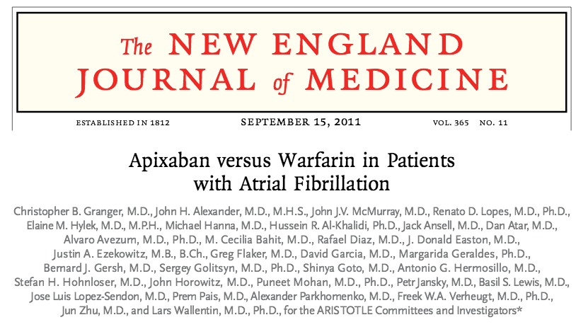 Apixaban: ARISTOTLE trial